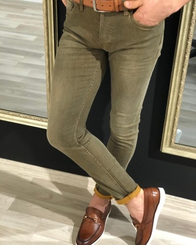 Buy Khaki Slim Fit Lycra Jeans at Gentwith.com with Free Shipping