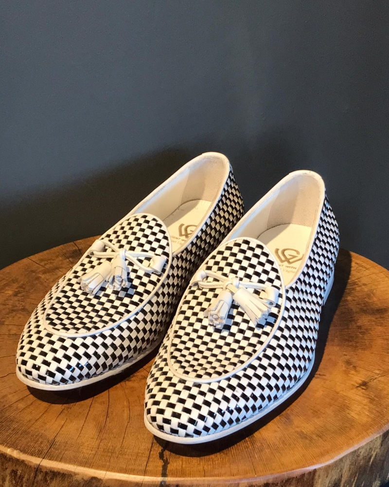 Handmade White Genuine Leather Tassel Loafers by GentWith.com with Free Worldwide Shipping