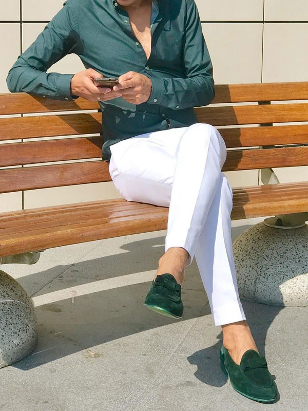 Green Suede Bespoke Shoes by Gentwith.com with Free Shipping