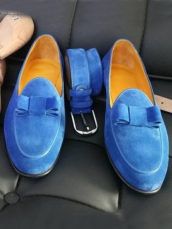 Blue Handmade Calf Leather Suede Bespoke Shoes by Gentwith.com with Free Shipping