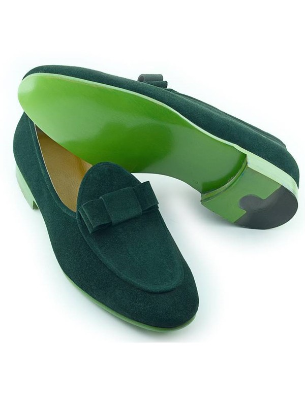 Green Handmade Calf Leather Suede Bespoke Shoes by Gentwith.com with Free Shipping
