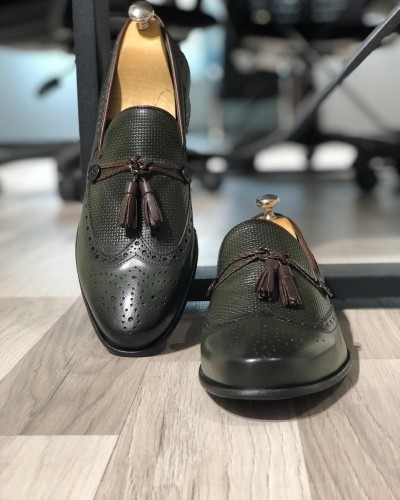 Khaki Tassel Loafer by Gentwith.com with Free Shipping