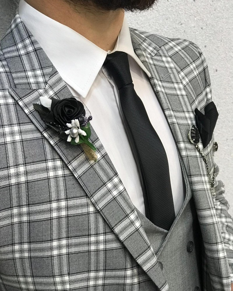 Gray Slim Fit Plaid Wool Suit by Gentwith.com with Free Shipping