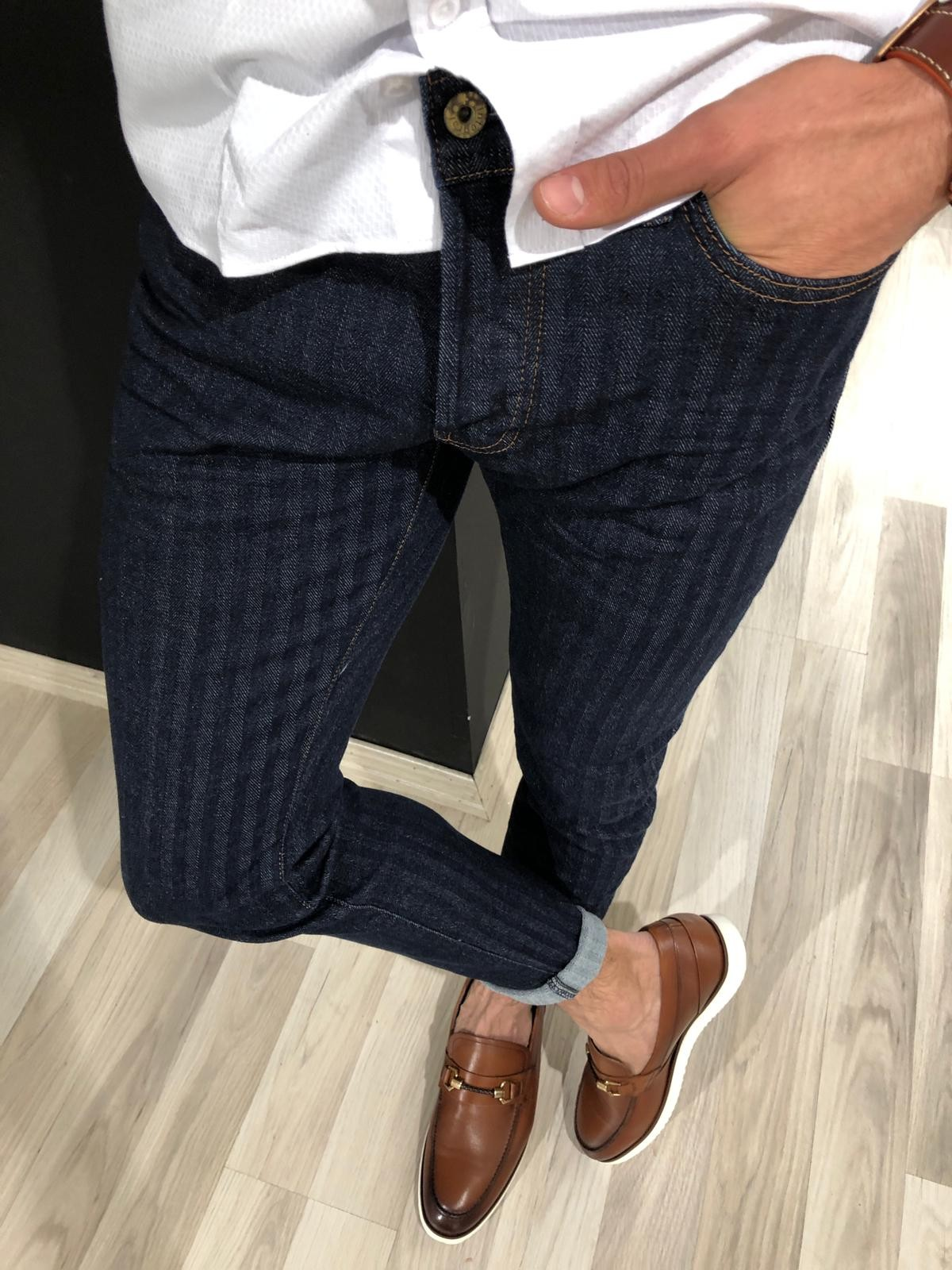 Navy Blue Striped Jeans by Gentwith.com with Free Shipping