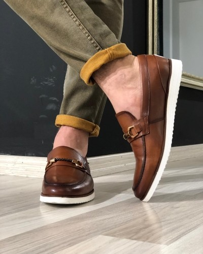 Tan Leather Loafer by Gentwith.com with Free Shipping