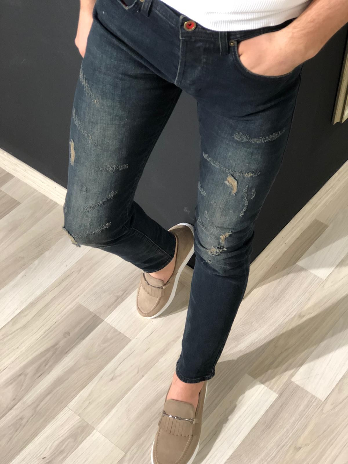 Buy Navy Blue Slim Fit Ripped Jeans at Gentwith.com with Free Shipping