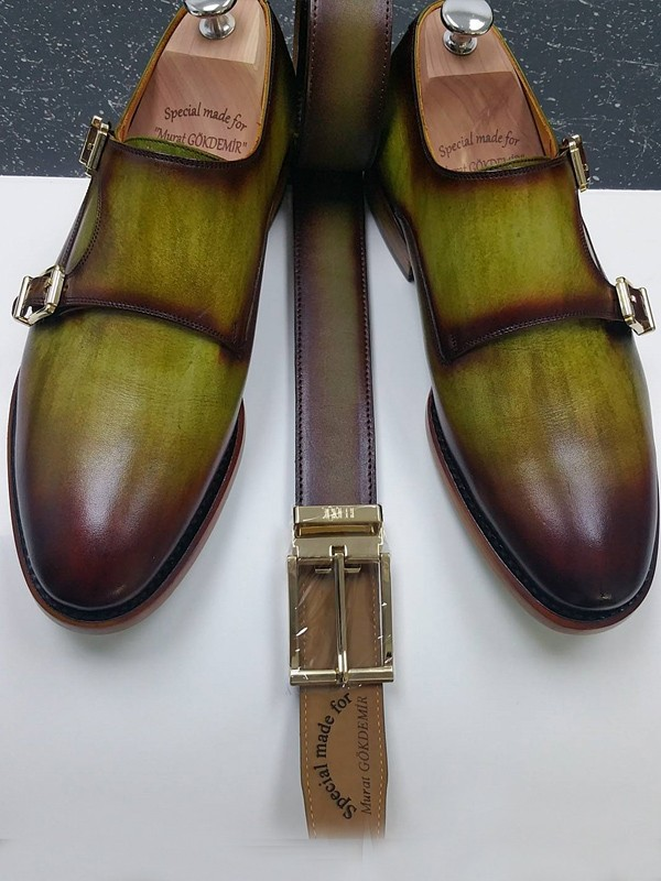 Olive Handmade Calf Leather Bespoke Shoes by