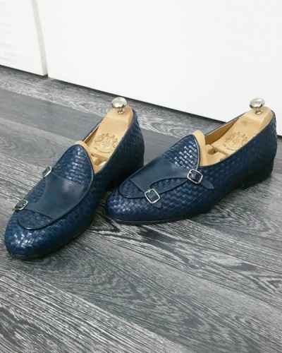Steel Blue Handmade Calf Leather Bespoke Shoes by Gentwith.com with Free Shipping
