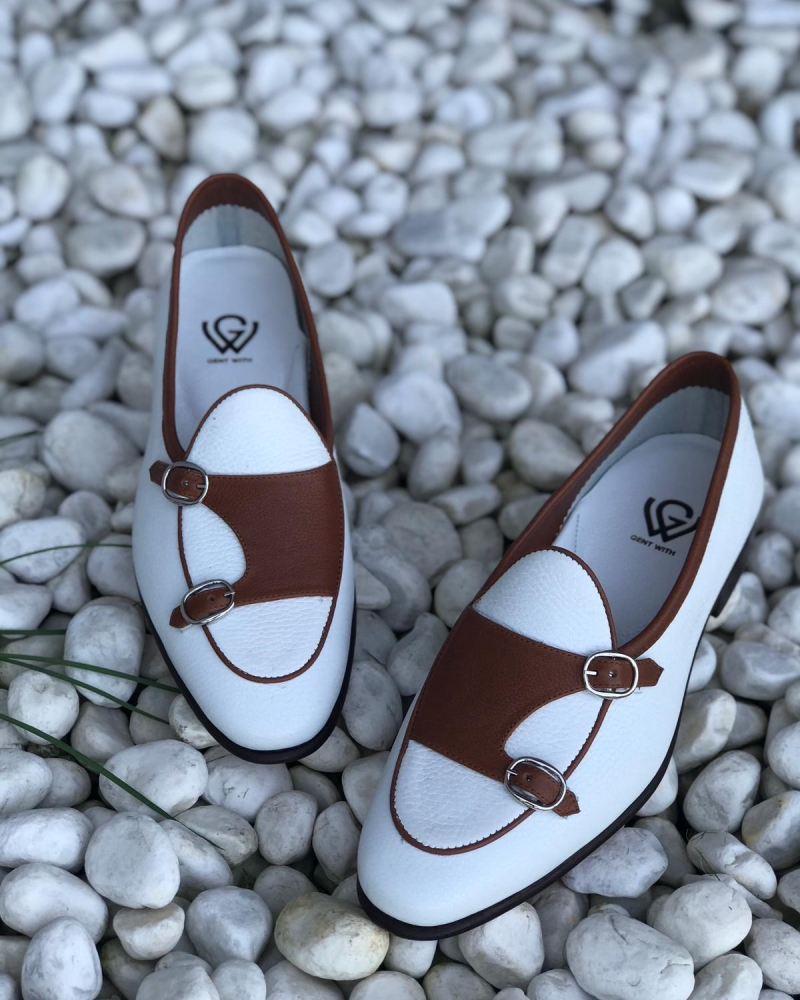 Handmade White Genuine Leather Double Monk Strap Loafers by GentWith.com with Free Worldwide Shipping