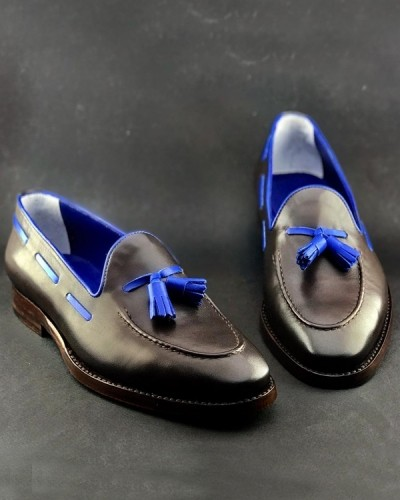 Black Handmade Calf Leather Bespoke Shoes by