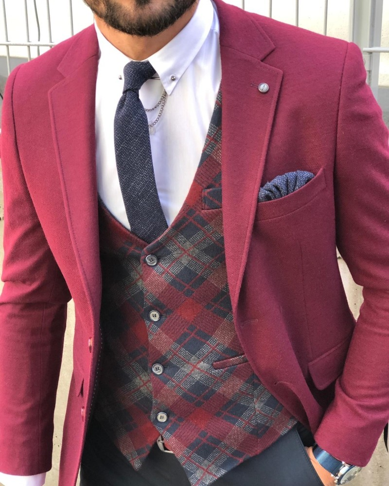 Purple Slim Fit Suit by Gentwith.com with Free Shipping