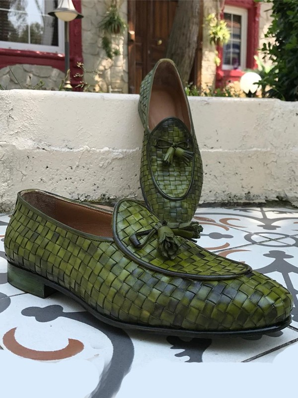 Green Handmade Calf Leather Bespoke Shoes by