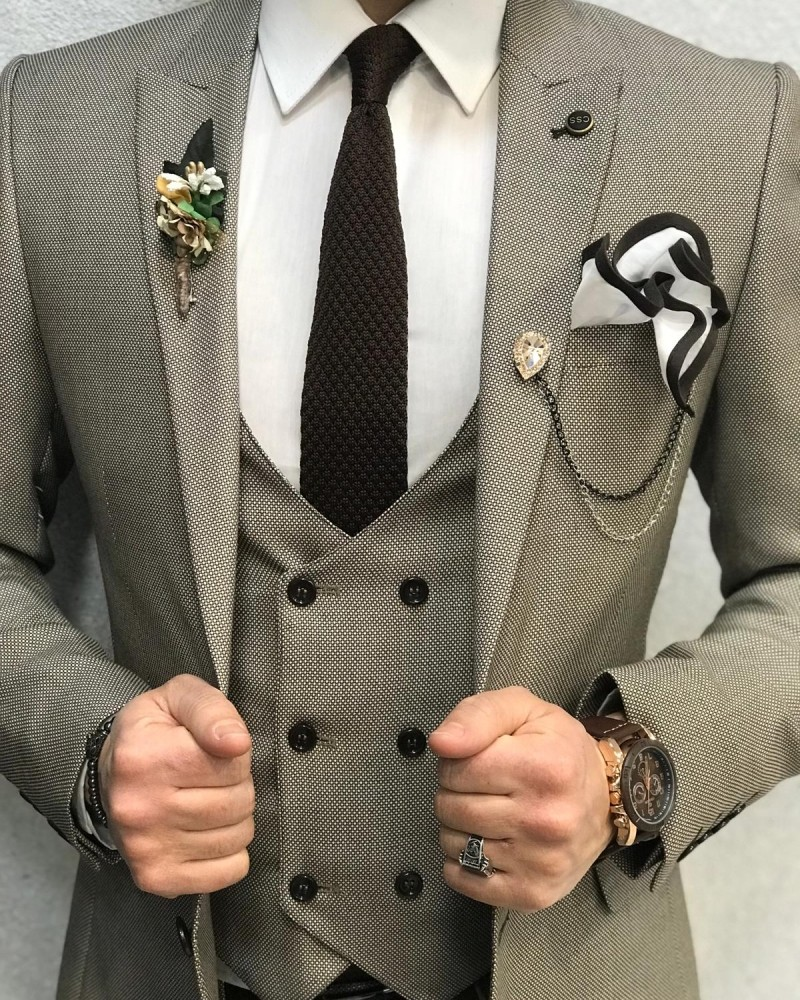 Cream Slim Fit Wool Suit by Gentwith.com with Free Shipping