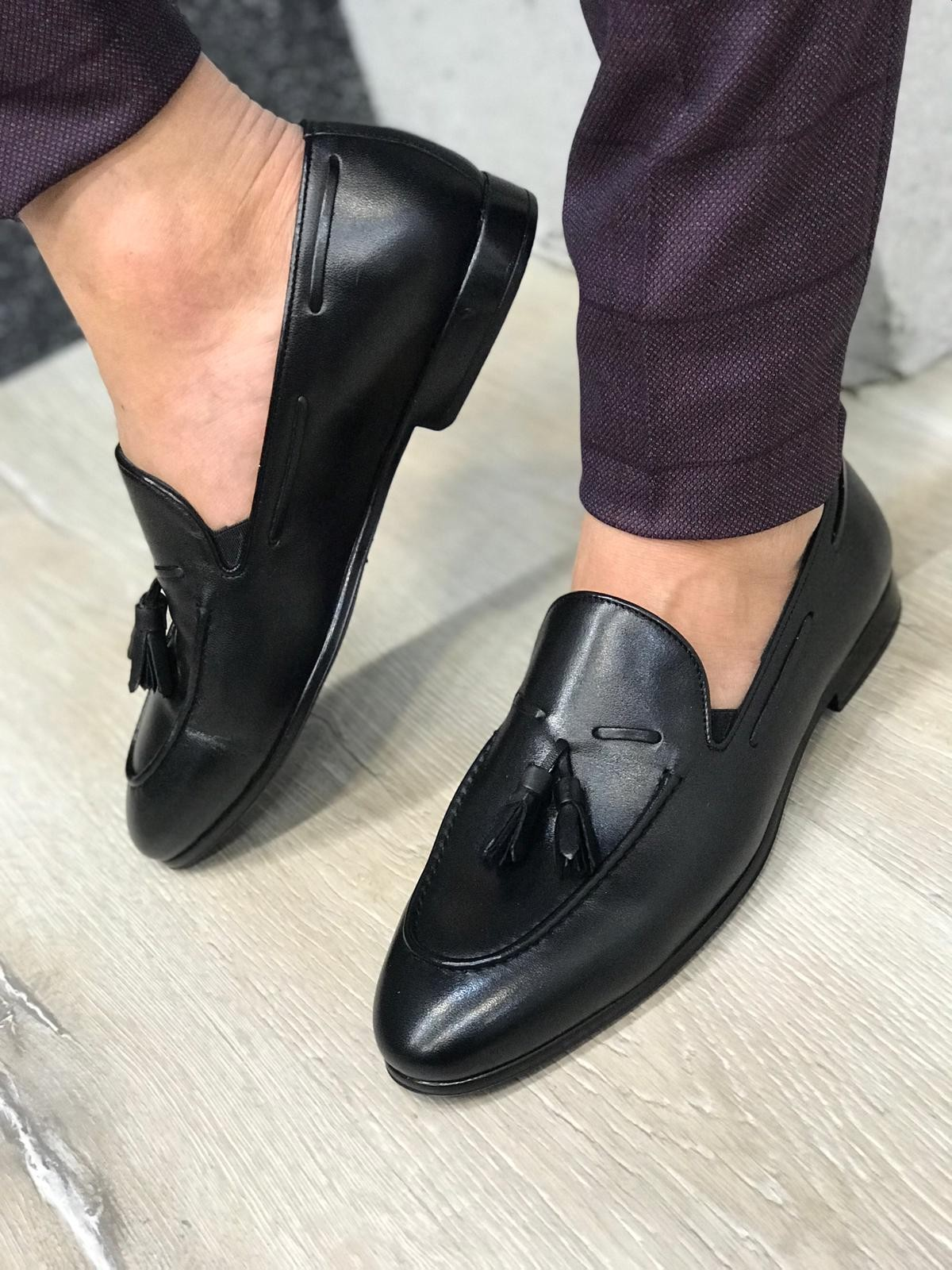 bbead0e3fb8 Black Leather Tassel Loafer by Gentwith.com with Free Shipping