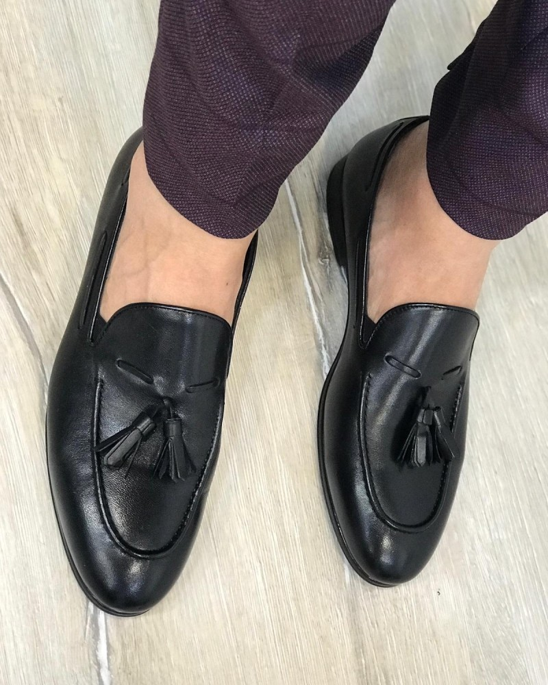 Black Leather Tassel Loafer by Gentwith.com with Free Shipping