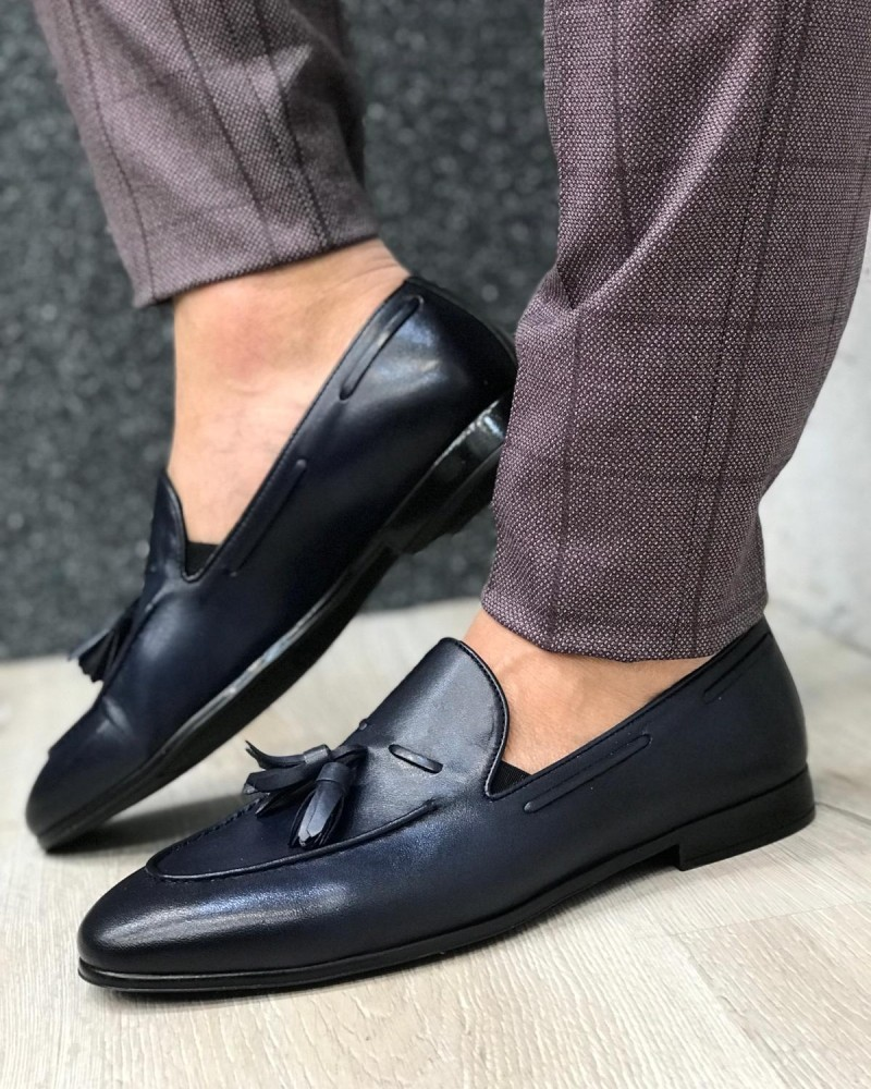 Blue Leather Tassel Loafer by Gentwith.com with Free Shipping