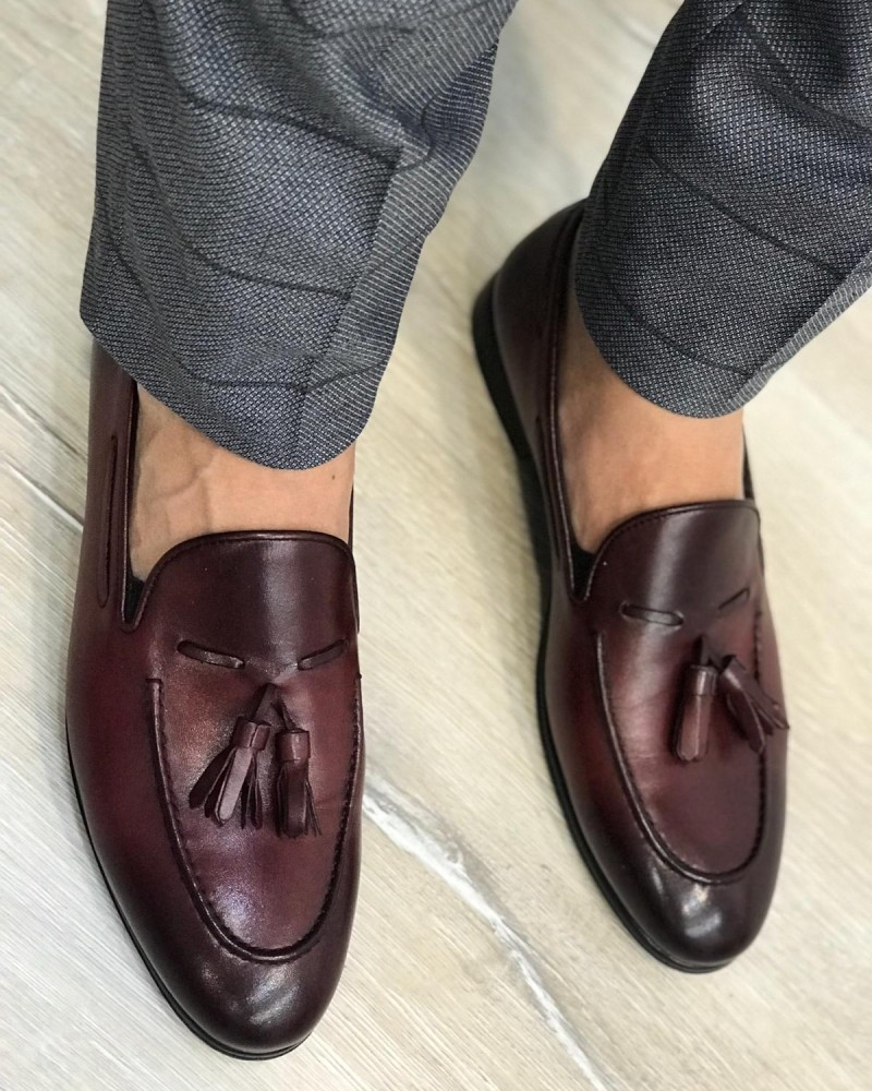 Claret Red Leather Tassel Loafer by Gentwith.com with Free Shipping