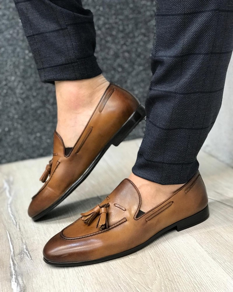 Taba Leather Tassel Loafer by Gentwith.com with Free Shipping
