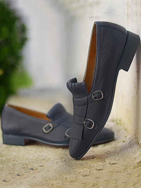Black Calf Leather Handmade Bespoke Shoes by Gentwith.com with Free Shipping