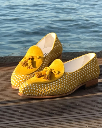 Handmade Yellow Genuine Suede Leather Tassel Loafers by GentWith.com with Free Worldwide Shipping