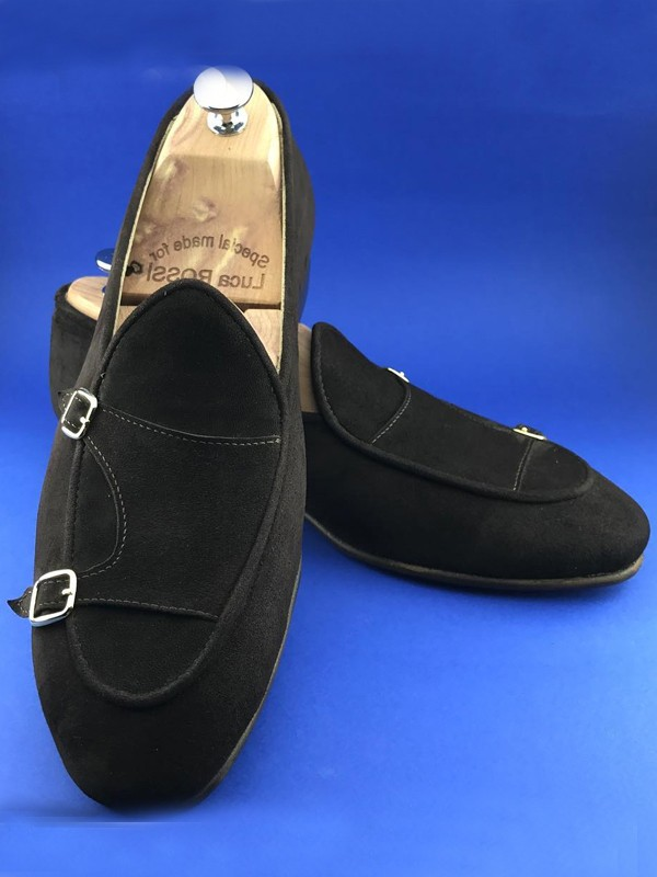 Black Handmade Suede Calf Leather Bespoke Shoes by Gentwith.com with Free Shipping