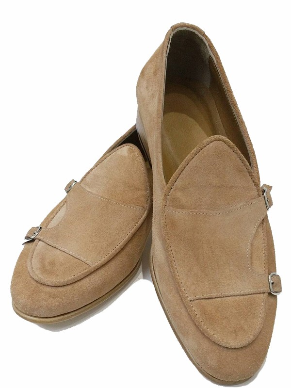 Camel Handmade Suede Calf Leather Bespoke Shoes by Gentwith.com with Free Shipping