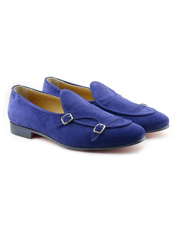 Blue Handmade Suede Calf Leather Bespoke Shoes by Gentwith.com with Free Shipping