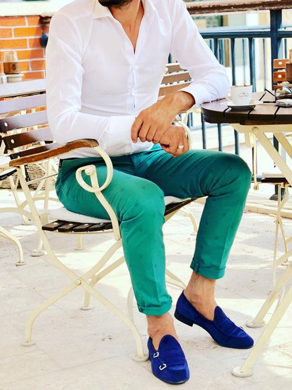 Blue Suede Bespoke Shoes by Gentwith.com with Free Shipping