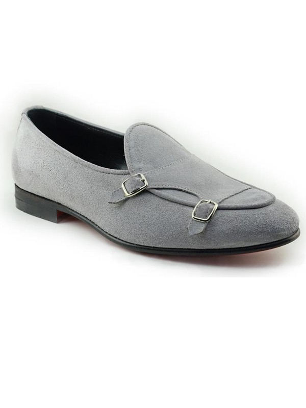 Gray Handmade Suede Calf Leather Bespoke Shoes by Gentwith.com with Free Shipping