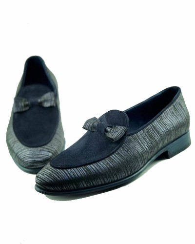 Navy Blue Handmade Suede Calf Leather Bespoke Shoes by Gentwith.com with Free Shipping