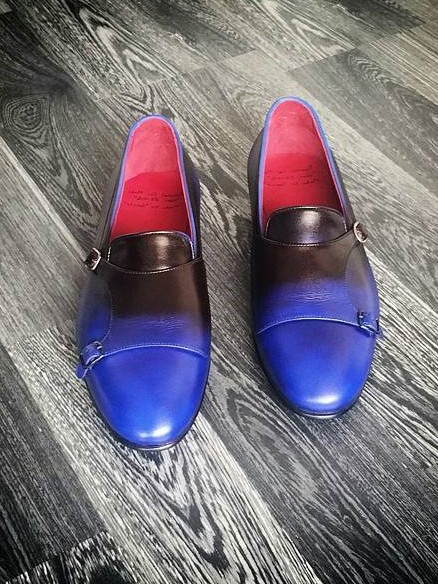 Blue Handmade Calf Leather Bespoke Shoes by Gentwith.com with Free Shipping