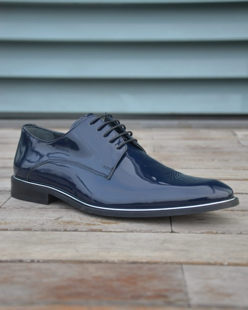 Navy Blue Leather Oxford by Gentwith.com with Free Shipping