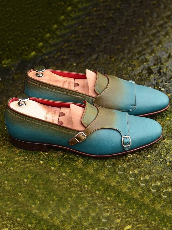 Azure Handmade Calf Leather Bespoke Monk Strap Loafer by Gentwith.com with Free Shipping