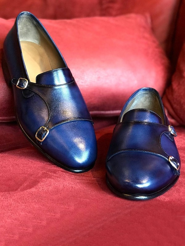 Blue Handmade Calf Leather Bespoke Monk Strap Loafer by Gentwith.com with Free Shipping