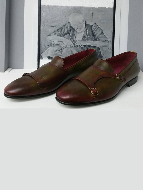 Olive Handmade Calf Leather Bespoke Monk Strap Loafer by Gentwith.com with Free Shipping