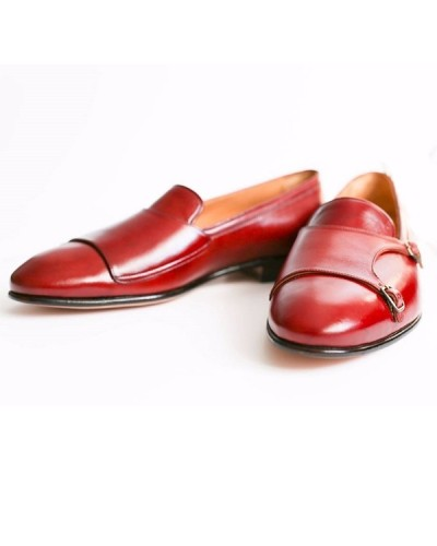 Red Handmade Calf Leather Bespoke Shoes by Gentwith.com with Free Shipping