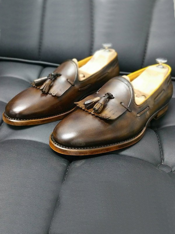 Coffee Handmade Calf Leather Bespoke Shoes by Gentwith.com with Free Shipping