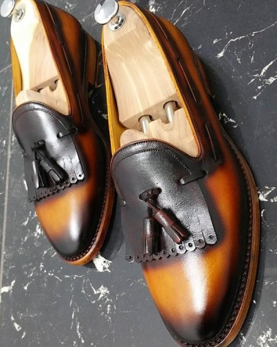 Mustard Handmade Calf Leather Bespoke Shoes by Gentwith.com with Free Shipping