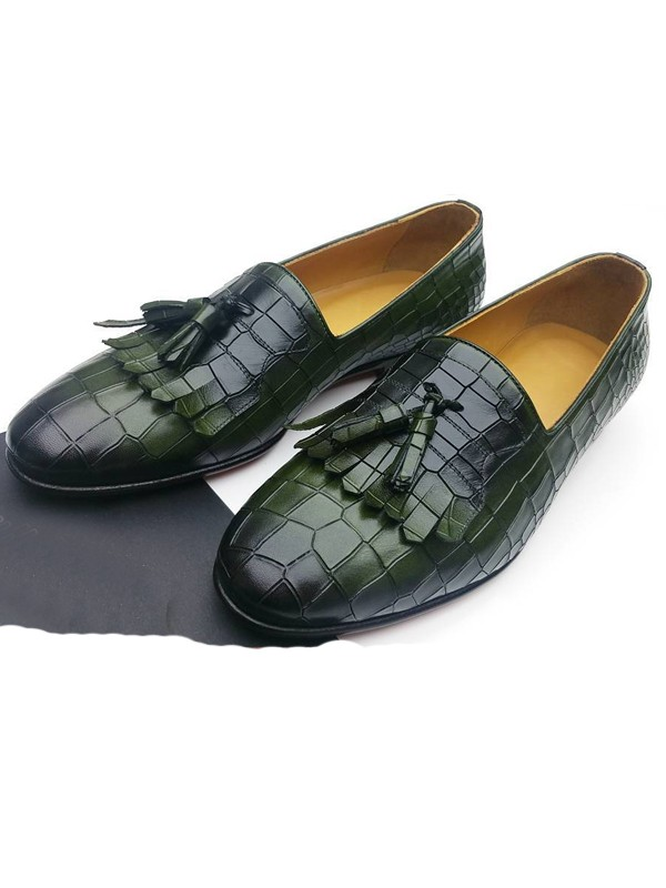 Green Handmade Suede Calf Leather Bespoke Shoes by