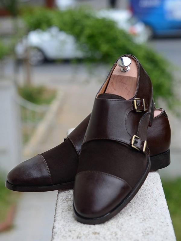 Brown Handmade Suede Calf Leather Bespoke Shoes by Gentwith.com with Free Shipping