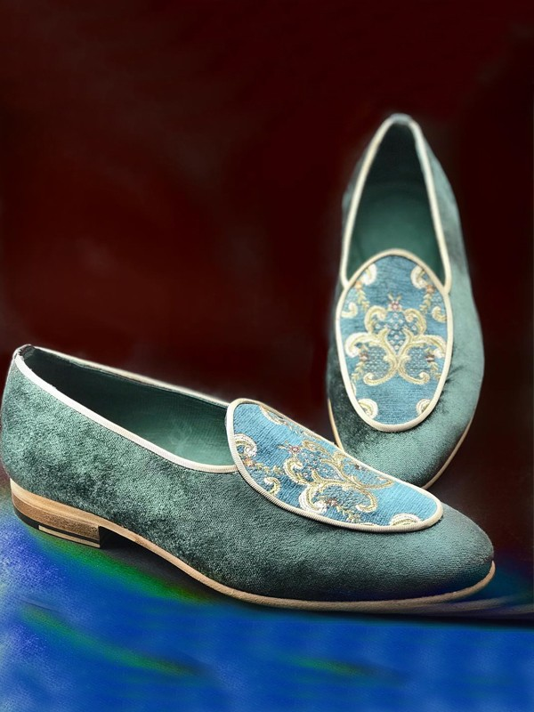 Turquoise Handmade Suede Calf Leather Bespoke Shoes by Gentwith.com with Free Shipping