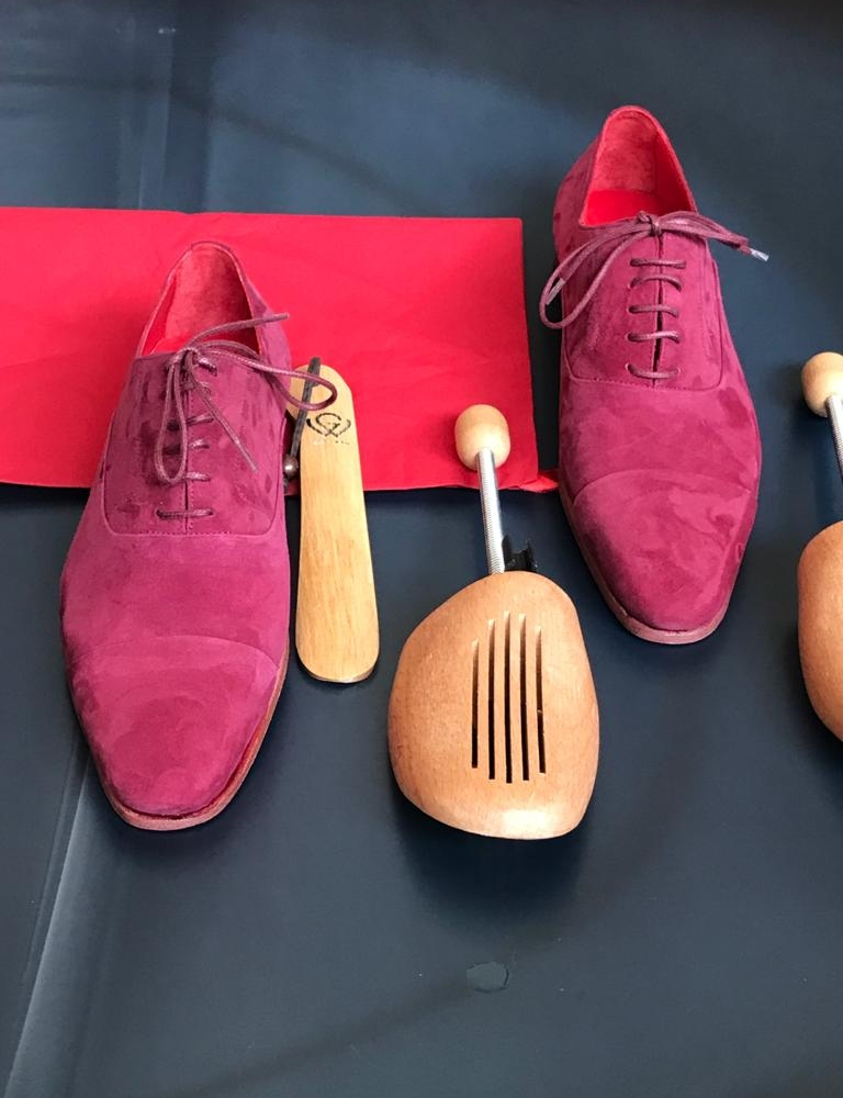 Pink Suede Oxford for Men by GentWith.com with Free Worldwide Shipping