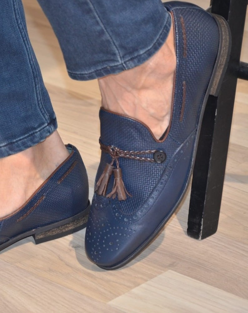 Blue Tassel Loafer by Gentwith.com with Free Shipping