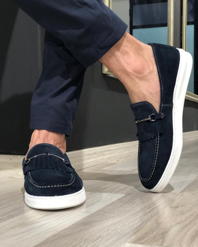 Navy Blue Suede Kilt Espadrille Loafer by Gentwith.com with Free Shipping