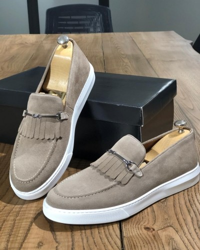 Beige Suede Kilt Espadrille Loafer by Gentwith.com with Free Shipping
