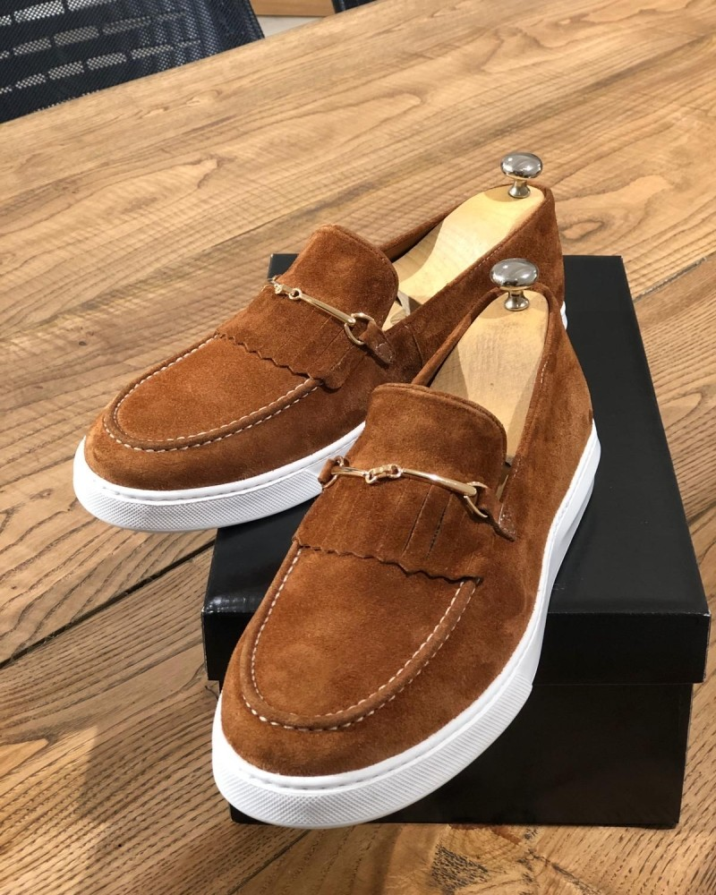 Cinnamon Suede Kilt Espadrille Loafer by Gentwith.com with Free Shipping