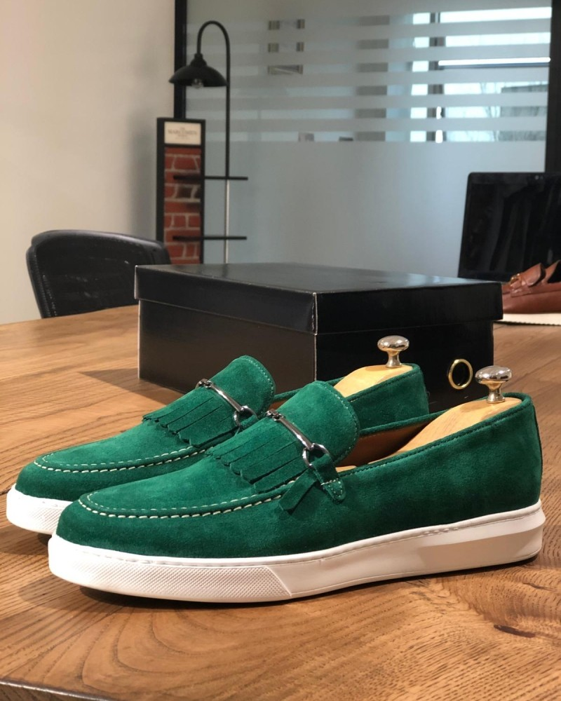Green Suede Kilt Espadrille Loafer by Gentwith.com with Free Shipping