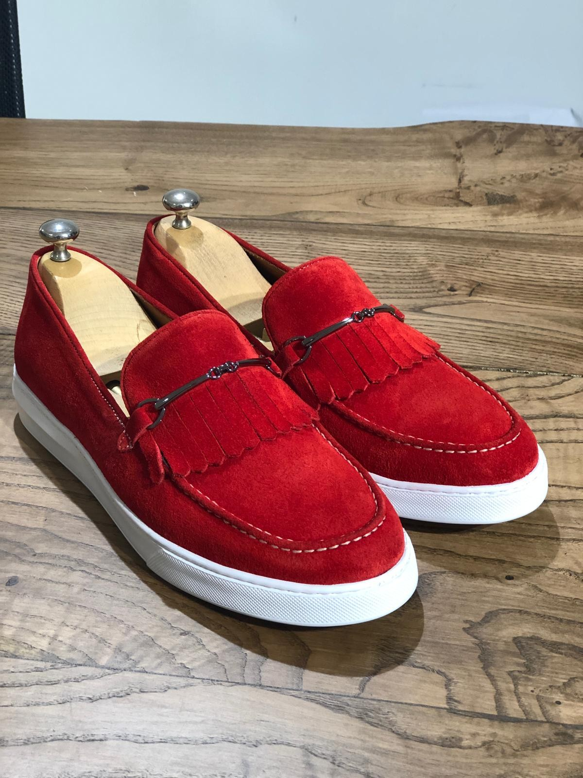 Red Suede Kilt Espadrille Loafer by Gentwith.com with Free Shipping a5ff3d3e3f08