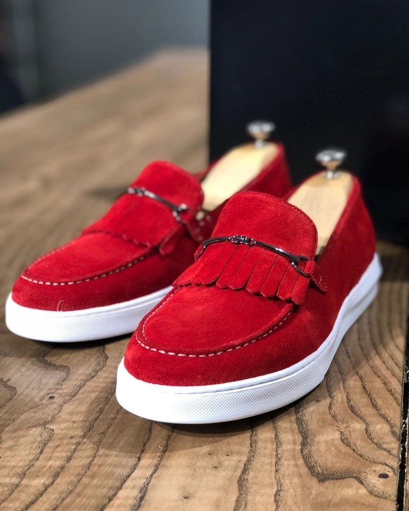 Red Suede Kilt Espadrille Loafer by Gentwith.com with Free Shipping