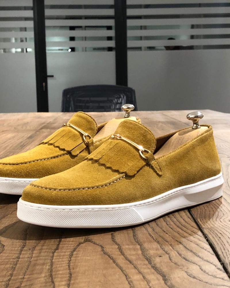 Yellow Suede Kilt Espadrille Loafer by Gentwith.com with Free Shipping
